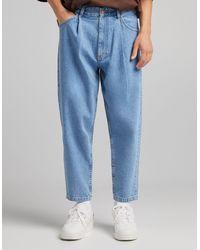 Bershka – helle ballon-jeans - Blau