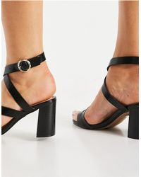 Office Maroon Strappy Block Heel Sandals - Black