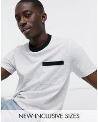 ASOS Camiseta en blanco jaspeado con ribetes y bolsillo en contraste