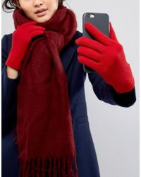 Vincent Pradier Lambswool Smartouch Gloves In Red
