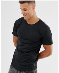 Only & Sons Longline Curved Hem T-shirt - Black