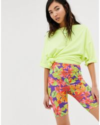 ASOS - Disco legging Short In Tropical Print - Lyst