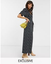 Reclaimed (vintage) Inspired Spot Print Jumpsuit With Wrap Front - Black