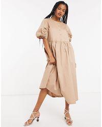 SELECTED Puff Sleeve Midi Dress - Natural