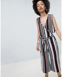 ONLY - Stripe Wrap Wide Leg Jumpsuit - Lyst