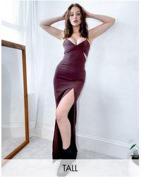 Vesper - Платье-майка Макси Шоколадного Цвета На Бретельках С Вырезами -коричневый - Lyst