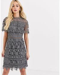 Chi Chi London High Neck Lace Pencil Midi Dress - Gray