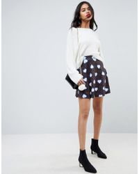 ASOS | Mini Skater Skirt In Heart Print | Lyst