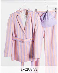 Collusion Blazer rosa rigato con cintura