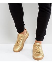 ASOS - Wide Fit Sneakers In Gold Metallic - Lyst