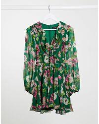 Bardot Mini Chiffon Dress - Green