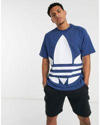 adidas Originals - Футболка С Большим Логотипом-трилистником -синий - Lyst