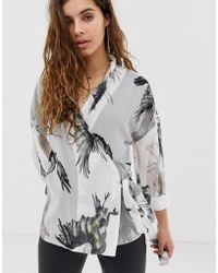 Religion Wrap Blouse In Bird Print - White
