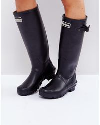 Barbour Bede - Bottes classiques en caoutchouc à doublure motif écossais - Noir