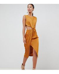 ASOS - Asos Design Tall Twist Front Sexy Satin Pencil Dress With Cut Out - Lyst