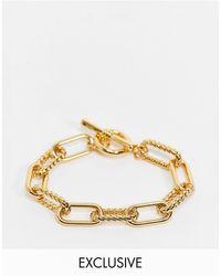 Reclaimed (vintage) Inspired - Bracelet à chaîne en plaqué or 14 carats premium et fermoir barre - Métallisé