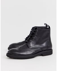 Office Brogue Boots - Black