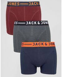 Jack & Jones Set Van 3 Boxershorts Met Contrasterende Tailleband - Blauw