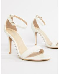 Glamorous - White Barely There Heeled Sandal - Lyst