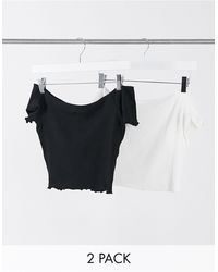 Glamorous 2 Pack Off Shoulder Crop Tops With Lettuce Hem Black And White
