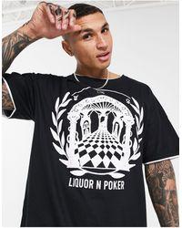 Liquor N Poker T-shirt oversize double épaisseur imprimé grec - Noir