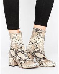 Free People - Cecile Leather Snake Print Block Heel Mid Calf Booties - Lyst