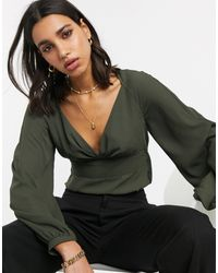ASOS V Neck Long Sleeve Waisted Blouse - Green