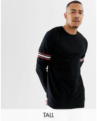 Burton Big & Tall Sweatshirt With Stripe Detail - Black