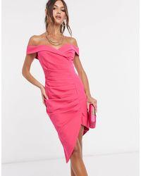 Lavish Alice Розовое Платье Миди Со Сборками И Открытыми Плечами -розовый