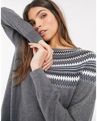 Esprit Fairisle Round Neck Sweater - Grey