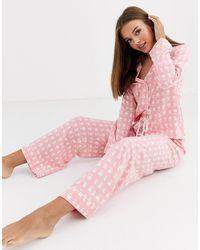 ASOS Pink Check 100% Modal Traditional Pyjama Set