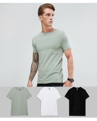 ASOS - Muscle Fit T-shirt With Crew Neck 3 Pack Save - Lyst