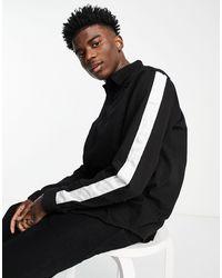 Sixth June Stripe Detail Denim Shirt - Black