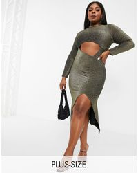Fashionkilla Glitter Cut Out Long Sleeve Midi Dress - Metallic