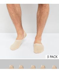 ASOS - Invisible Socks In Beige 5 Pack - Lyst
