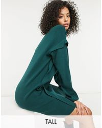 Noisy May Knitted Sweater Dress With Sleeve Detail - Green