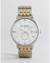 Ben Sherman - Wb071gsm Bracelet Watch In Mixed Metal - Lyst