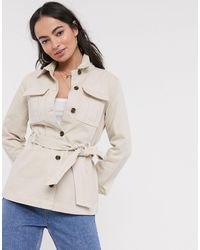 Ichi Belted Utility Jacket-white - Natural