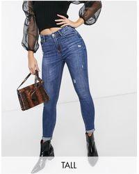 Stradivarius Tall High Rise Skinny Jeans - Blue