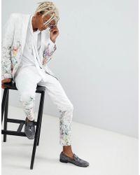 ASOS DESIGN - Skinny Suit Pants In Floral Printed White Jacquard - Lyst