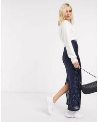 ASOS Sequin Pencil Maxi Skirt - Blue