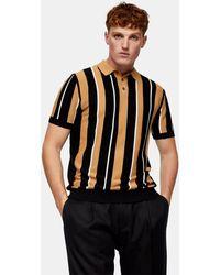 TOPMAN Stripe Knitted Polo - Black