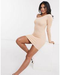 Missguided - Светло-коричневое Асимметричное Платье-джемпер Мини -розовый Цвет - Lyst