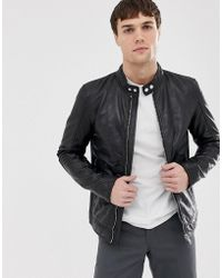 Barneys Originals Giacca biker in vera pelle - Nero