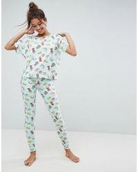 ASOS - Allover Food Print Tee & Legging Pyjama Set - Lyst