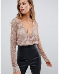 90718d6a3129e Missguided - Sequin Plunge Long Sleeve Body In Gold - Lyst