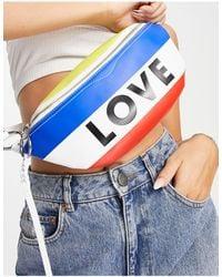 """Rebecca Minkoff Marsupio multicolore con scritta """"Love"""" - Blu"""