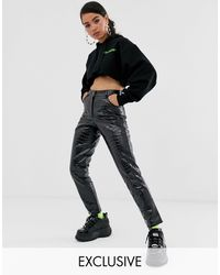 Collusion Leather Look Snake Pants - Black