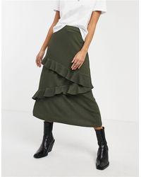 Oasis Tiered Midi Skirt - Green