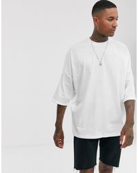 ASOS Extreme Oversized Longline T-shirt With Roll Sleeve - White